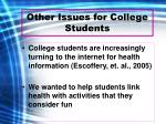 other issues for college students