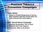previous tobacco prevention campaigns
