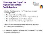 closing the gaps in higher education participation