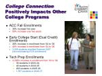 college connection positively impacts other college programs