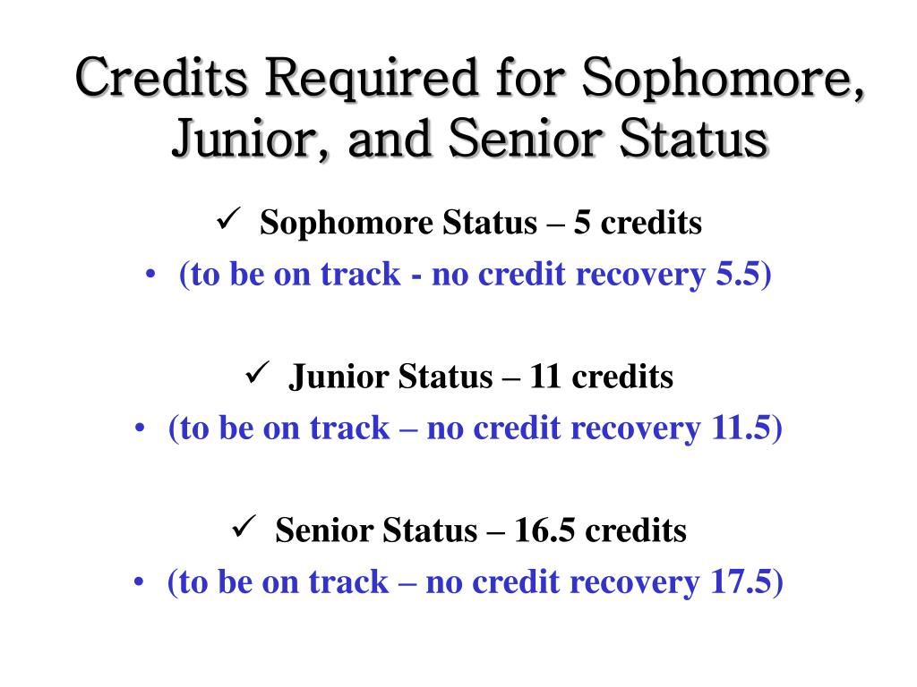Credits Required for Sophomore, Junior, and Senior Status