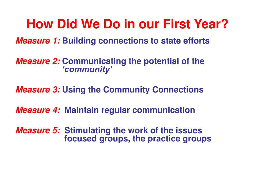 How Did We Do in our First Year?