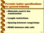 portable ladder specifications for general industry