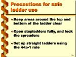 precautions for safe ladder use30