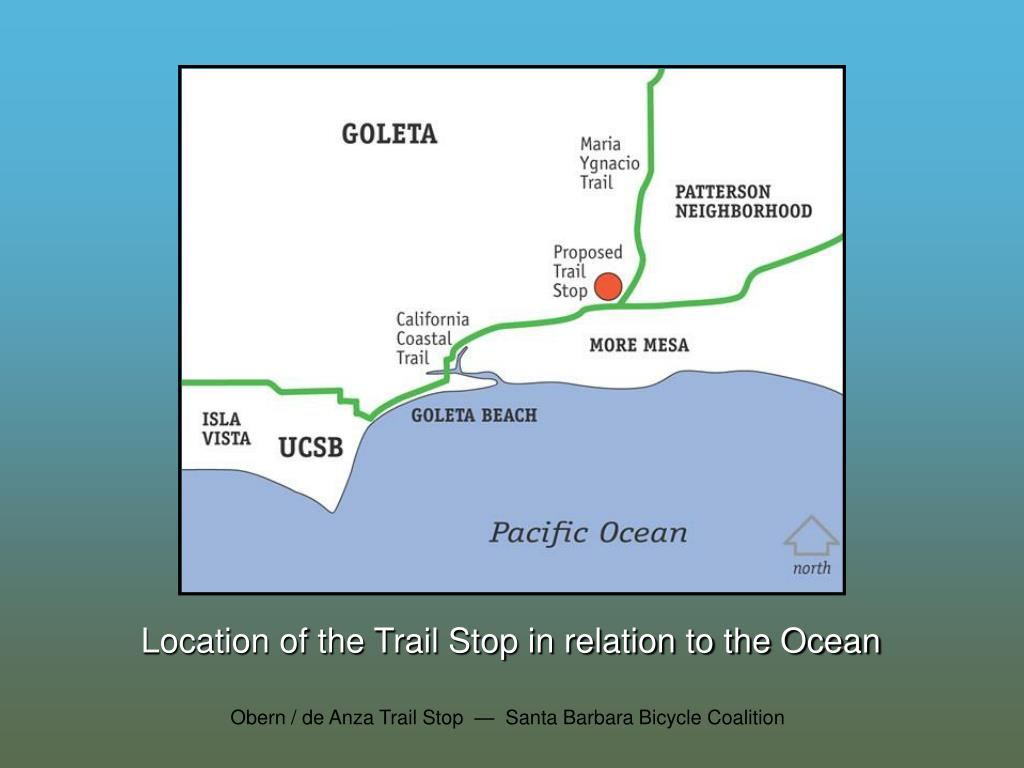 Location of the Trail Stop in relation to the Ocean
