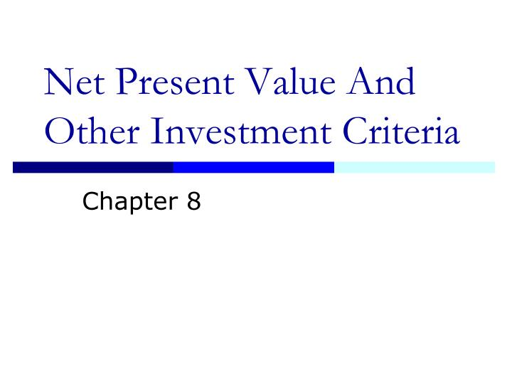 Investment criteria npv toker suleyman investment