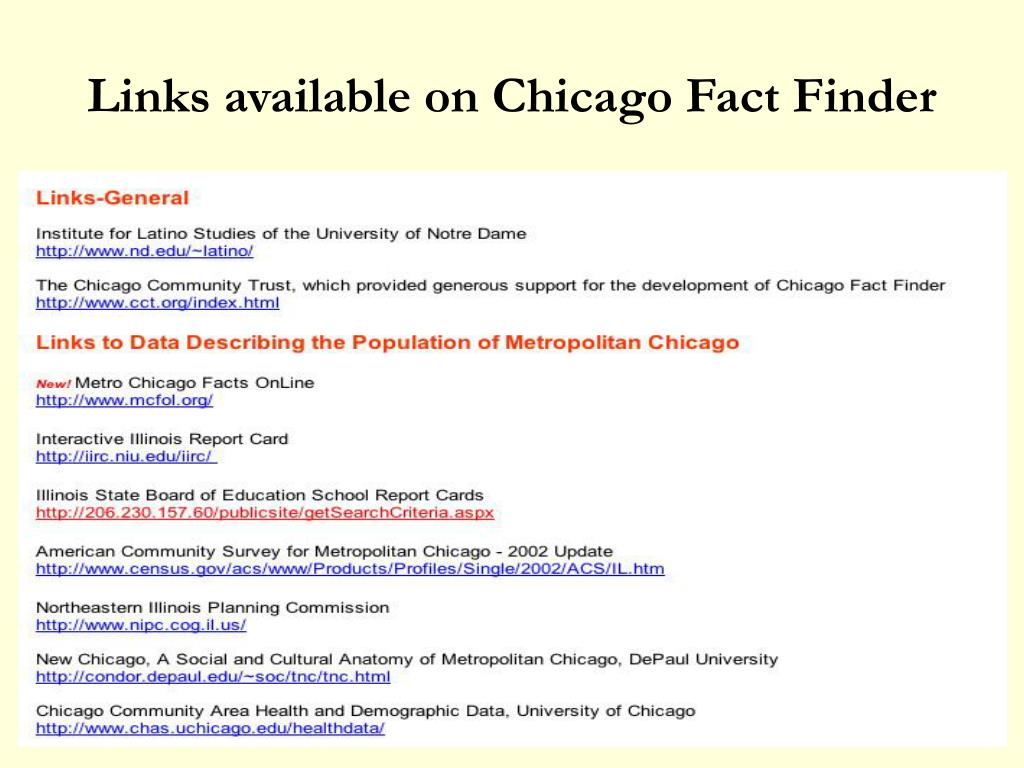 Links available on Chicago Fact Finder