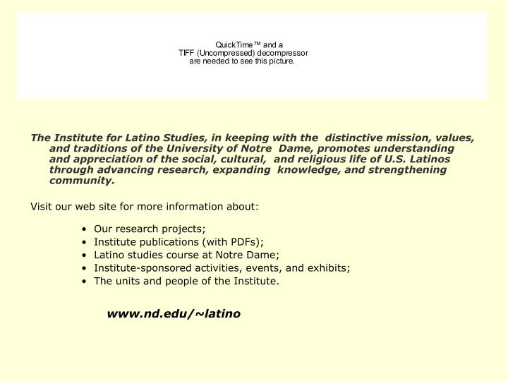The Institute for Latino Studies, in keeping with the  distinctive mission, values, and traditions o...