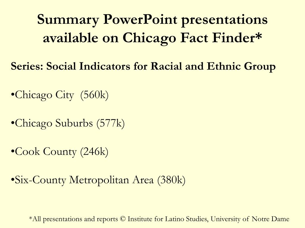 Summary PowerPoint presentations available on Chicago Fact Finder*