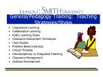 general pedagogy training teaching strategies styles