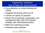 sophomore initiative use of data for improvement