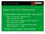 apps and test sequence