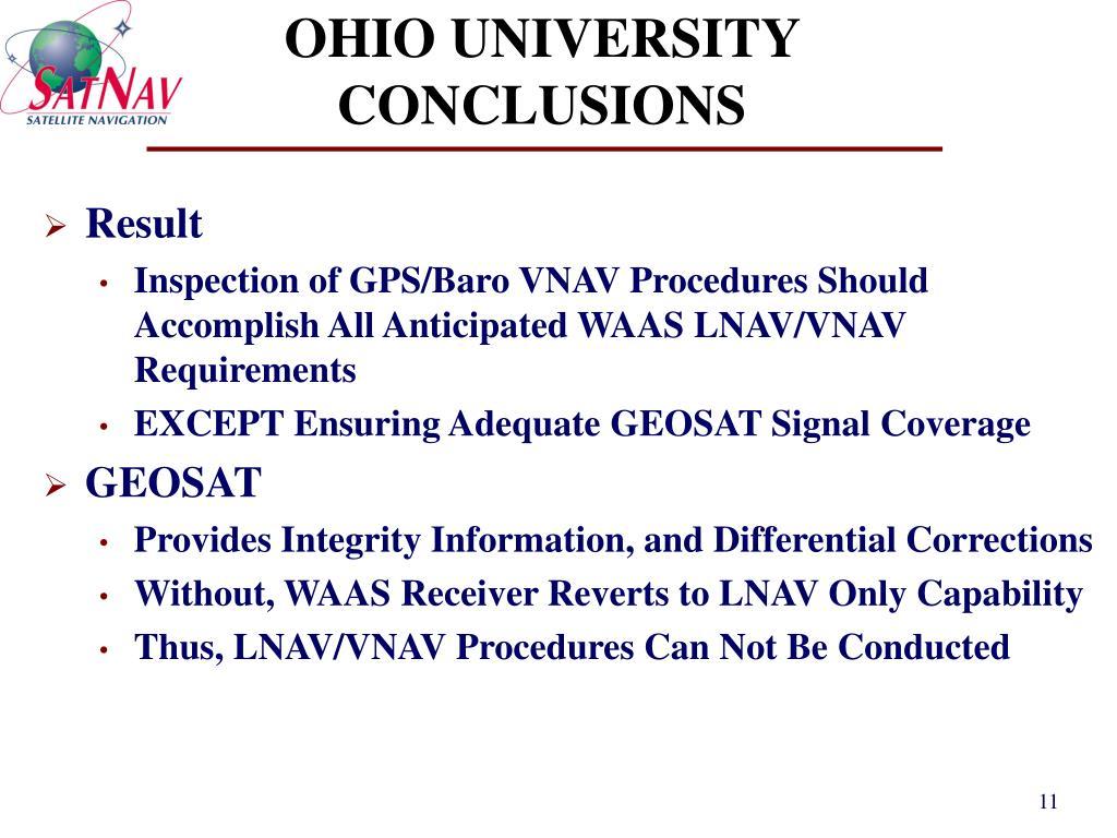 OHIO UNIVERSITY CONCLUSIONS