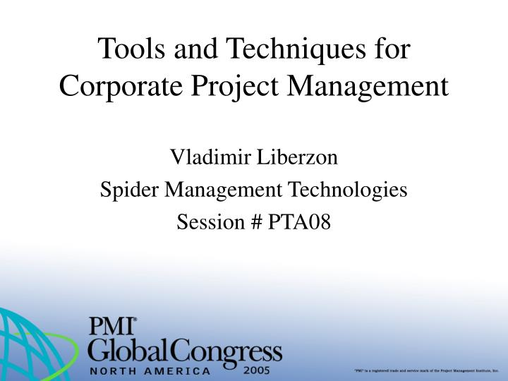 tools and techniques for corporate project management n.