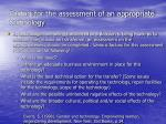 factors for the assessment of an appropriate technology