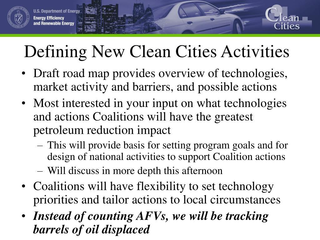 Defining New Clean Cities Activities
