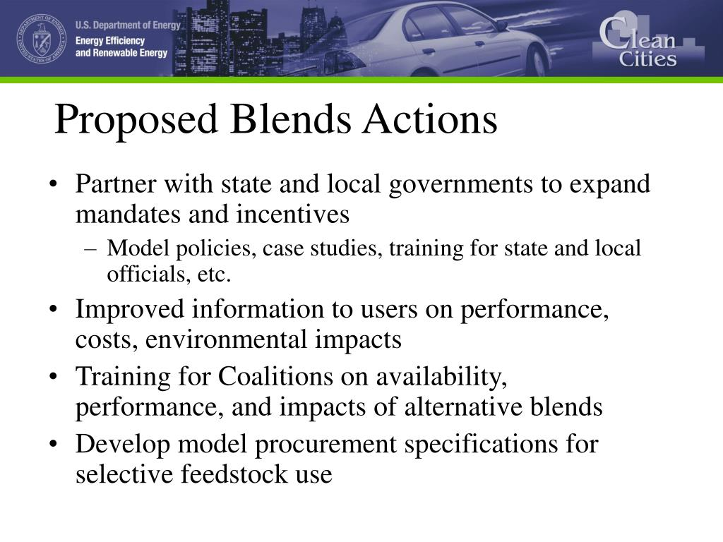 Proposed Blends Actions