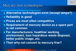 mercury free technologies