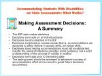 making assessment decisions a summary