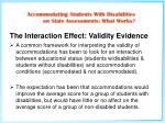 the interaction effect validity evidence