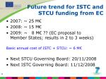 future trend for istc and stcu funding from ec