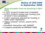 status of ceg sam in september 2008