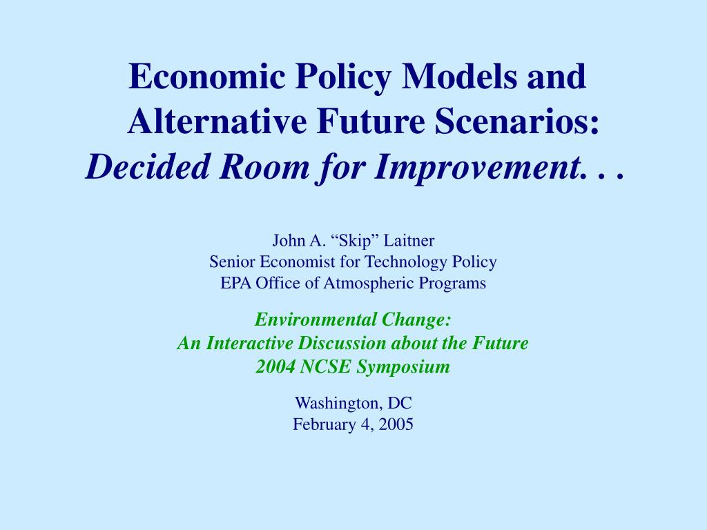 economic policy models and alternative future scenarios l.