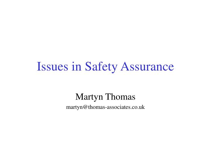 issues in safety assurance n.
