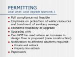 permitting local level local upgrade approvals 1