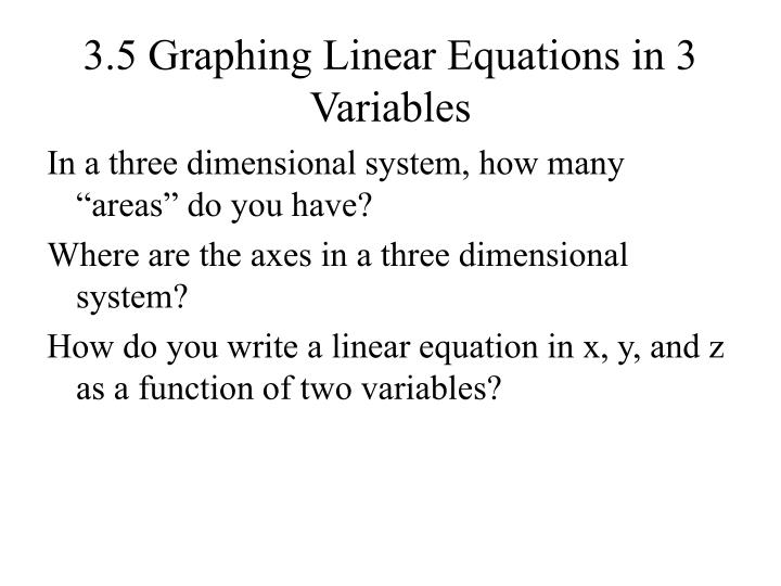 3 5 graphing linear equations in 3 variables