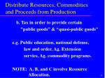 distribute resources commodities and proceeds from production24