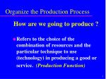 organize the production process