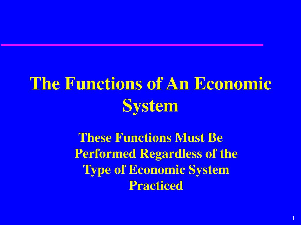 the functions of an economic system l.