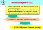the evolution path to uns