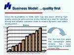 business model quality first