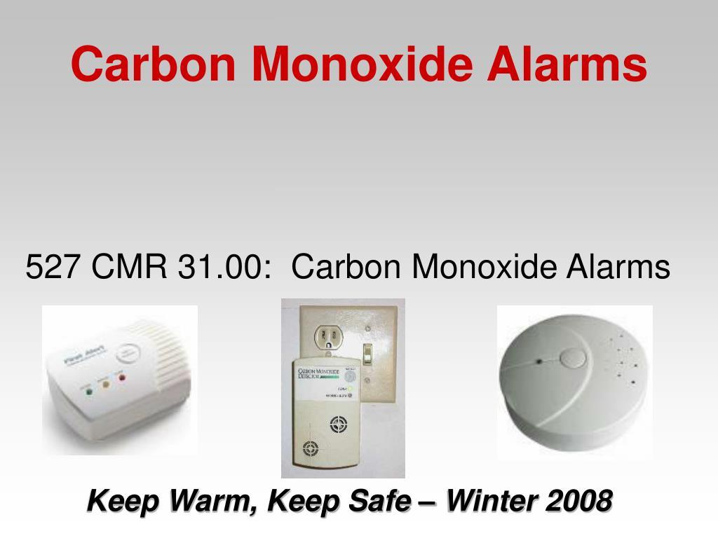 527 CMR 31.00:  Carbon Monoxide Alarms