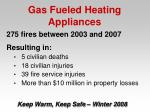 gas fueled heating appliances22