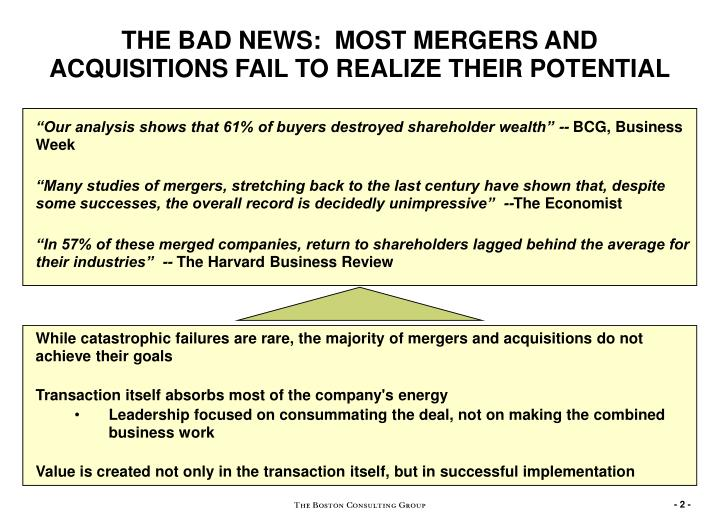 merger and acquisition failures What is mergers & acquisitions mergers and acquisitions (m&a) are defined as consolidation of companies differentiating the two terms, mergers is the combination of two companies to form one, while acquisitions is one company taken over by the other.