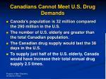 canadians cannot meet u s drug demands
