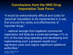 conclusions from the hhs drug importation task force