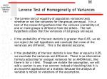 levene test of homogeneity of variances