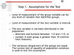 step 1 assumptions for the test