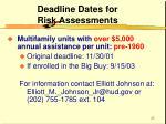 deadline dates for risk assessments