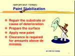 important terms paint stabilization