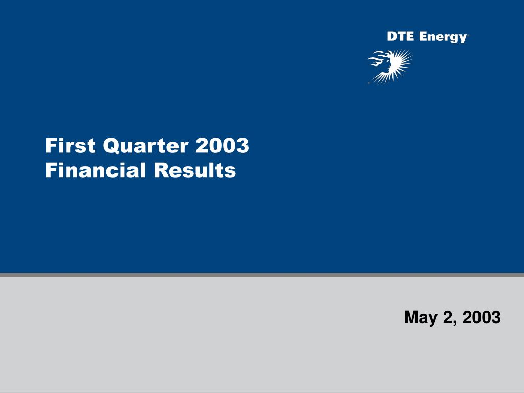 First Quarter 2003