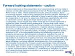 forward looking statements caution