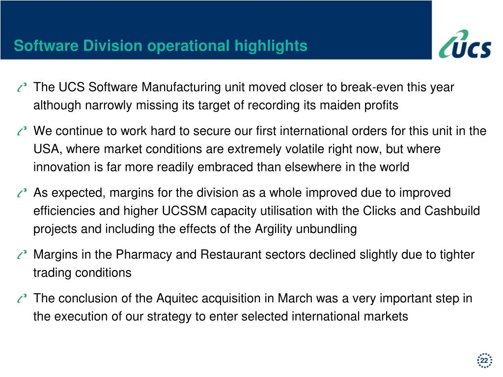 Software Division operational highlights