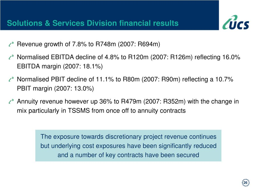 Solutions & Services Division financial results