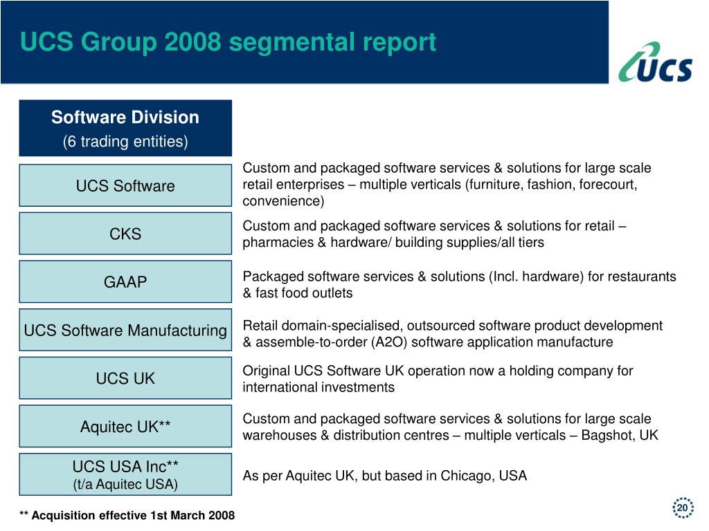 UCS Group 2008 segmental report
