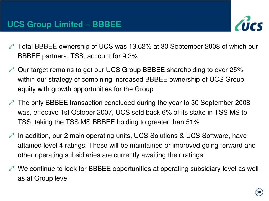 UCS Group Limited – BBBEE